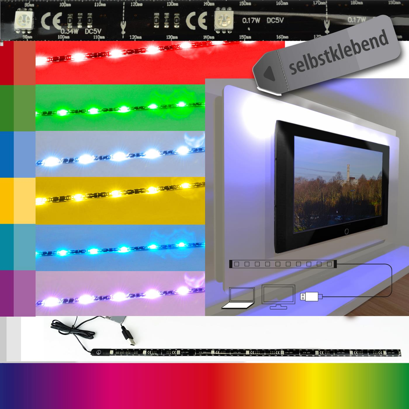 x4 life led leiste usb tv hintergrundbeleuchtung led strip fernseher beleuchtung ebay. Black Bedroom Furniture Sets. Home Design Ideas